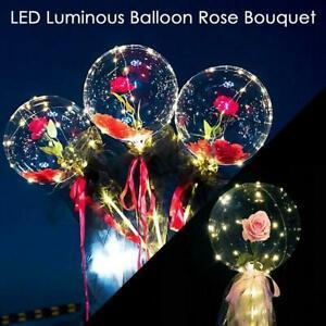 LED Balloon Rose Bouquet Luminous Christmas Decor Xmas Gift T4N6