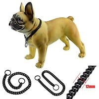 12MM Black Stainless Steel P Chock Chain Pet Collars Necklace Jewelry