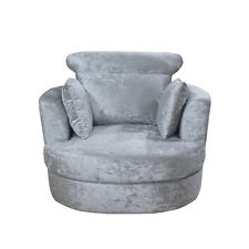 NEW Large Silver Crushed Velvet Sofa Swivel Cuddle Chair L 105cm  W 98cm  H 84cm