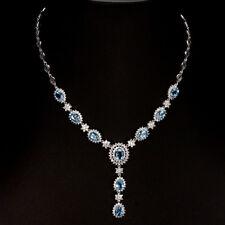 "GENUINE Pear 8x6mm Top Swiss Blue Topaz & W Cz 925 Sterling Silver Necklace 16"""