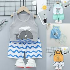 2PCS Toddler Baby Kids Boys Girls Summer Cartoon Vest+Shorts Outfits Set Clothes