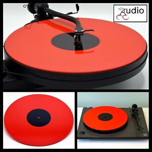 Gloss Red Acrylic Turntable Platter Mat. Fits REGA, PRO-JECT Record Player