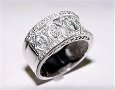 Filigree 0.40CT Diamond Band 14K gold 10MM wide s-7