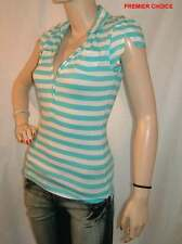 NEW SILENT ANGEL TURQUOISE BLUE WHITE STRIPE V NECK POLO CAP SLEEVE TOP 14