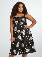 Torrid Womens Black Floral Strapless Dress Size 12 10417270