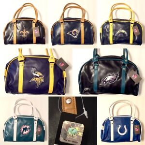 Licensed Two Tone Embroidered Drop Handle Bowler Purse Handbag - New