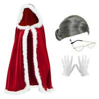 Mrs Santa Claus Fancy Dress Costume (Cloak, Wig, Glasses & Gloves)