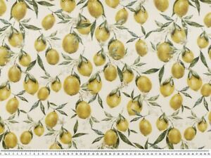 Baumwolle Stoff Panama Digitaldruck Deko Patchwork Gardine Lemon Zitrone Nr14