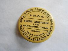 Cool Vintage Korom Sanctorum 195 Hartford CT AMOS Baby Convention Pinback