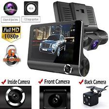 "Car DVR 1080P 4"" Dual Lens HD Rearview Dash Cam Recorder Camera G-sensorUK Kj"