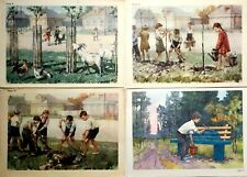 Russian Kids Illustration Children Plant trees Posters Set 4 pcs 1950s