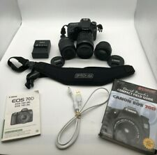 Canon EOS 70D 20.2MP DSLR Camera w/ EF-S 18-55mm, 18-135mm / EF 50mm- Preowned