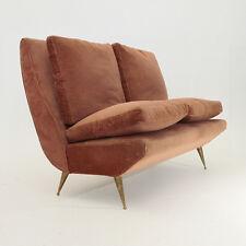 Divano in velluto rosa anni 50, mid century sofa, zanuso carlo del carli style,