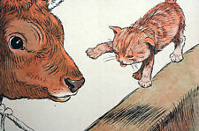 Cecil Aldin Print 1912 Kitten Teasing Cow - Touch and Go - Lithograph Art Matted