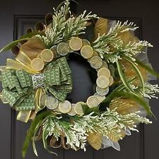 "23"" Wonderful Unique Handmade Yellow Green Burlap Wreath - Lemonade GREAT GIFT"