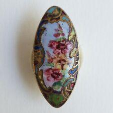 Bouton ancien - Émail champlevé et peint - 32 mm - XIXe - Enamel Buttons