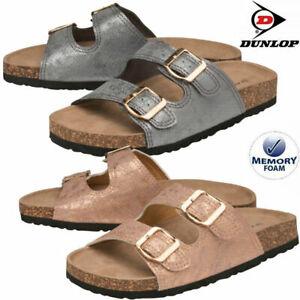 Ladies Dunlop Memory Foam Walking Strappy Sliders Summer Mules Sandals Shoes