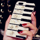 Crystal Diamond Piano Pattern Hard Cover Case For iPhone 6/6S/7/7 Plus Bling