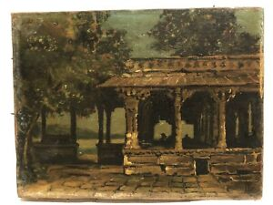 "1860's American Architectural Painting ""House By The Lake"" .SIGNED"