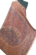 """Blue & Red Wool Jamavar Floral Paisley Shawl Reversible Kani Pashmina 85""""x 42"""""""