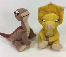 "VTG 1996 The Land Before Time Cera & Little Foot 9""Plush Equity Toys Lot Bundle"