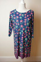 Ladies Blue Floral Tunic Top / Dress Size 12 by George NEW Stretch Material