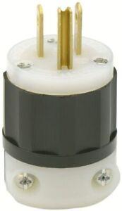 Leviton 5266-C 10 Pack 15 Amp 125V Industrial Grade Grounding Plug Black & White