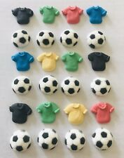 24 Sugar Icing Soccer & Jersey Cupcake Decorations Cake Football Party Cake