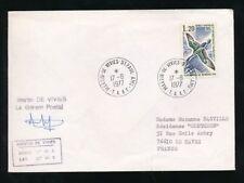 ANTARCTIC FRENCH 1977 MARTIN de VIVIES 1.20F CORMORANT BIRD SG102 SIGNED COVER