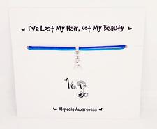 Handmade Alopecia Awareness Ribbon Charm - Blue Adjustable Bracelet- Alopecia UK