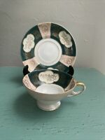 Vintage Gold Trim Footed Royal Sealy China Japan Tea Cup & Saucer Hand Painted