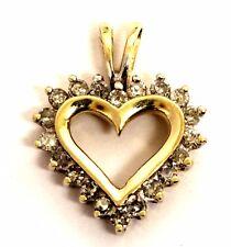 10k yellow gold .24ct SI2 H women's diamond heart pendant 1.2g ladies estate