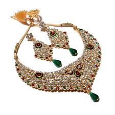 Necklace Set Kundan Ad Cz Jade Red Green Gemstone Jewelry 6794