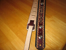 LEATHER GUITAR STRAP CUSTOM MADE CONCHOS MAHOGANY (WITH YOUR NAME) 2 1/2'' WIDE