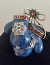 """Heidi Daus """"Smitten Mittens"""" Crystal & Enamel Blue Mitten Pin $100 Retail NW/Tag"""