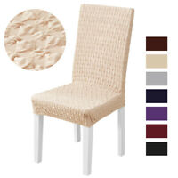 1/2/4/6x Spandex Knitted Diamond Chair Cover Stretch Dining Room Seat Slipcovers