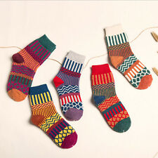 5 Pairs New Womens Cashmere Wool Thick Warm Socks Winter Fashion Striped SOCK