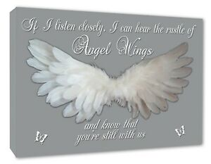Angel Wings Picture Angel Wall IF I Listen Closely Quote Canvas Print Grey A1+