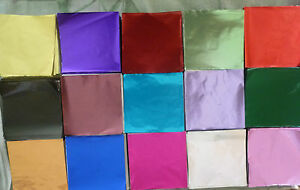 500 x 80 mm x 80 mm Foil Square Wrappers for Chocolate and Sweets.17 Colours
