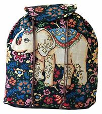 Ladies Hippie Boho Ethnic Backpack Floral Elephant Design Rucksack Outdoor Bag