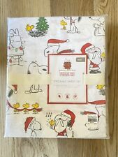 POTTERY BARN KIDS PEANUTS SNOOPY CHRISTMAS ORGANIC COTTON SHEET SET NEW 2 Avail