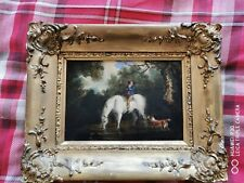 Original Georgian Oil Painting Young Man On Horse With A Dog (Small Painting)
