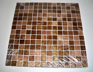 "Jeffrey Court Mosaic Glass Tile 12"" X 12"" Inch Verona Glass Bling Shimmer Brown"