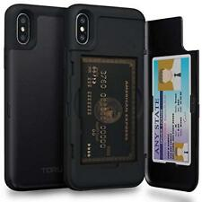 iPhone XS/X Wallet Case Shockproof Dual Layer Card Holder Hard Cover Matte Black