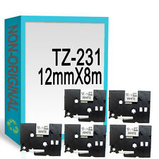 5 compatible with Brother TZ231/TZe231 P-Touch 12mmx8m Black On White Label Tape