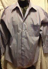 Red Light Blue White Stripped Henry Grethel Dress Shirt 17-1/2 Long Sleeve