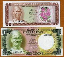 SET, Sierra Leone, 50 cents + 1 Leone, 1984-1985, Picks 4-5 UNC