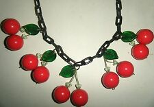 Vintage Repurposed Lucite Cherry Art Necklace Black or Red Plastic Chain