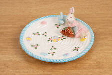 Fitz and Floyd Omnibus Ceramic Bunny Rabbit Snack Treat Plate - Chip On Bottom I