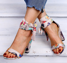 Women Floral High Block Heels Sandals Lace Up Open Toe Ethnic Retro Party Shoes